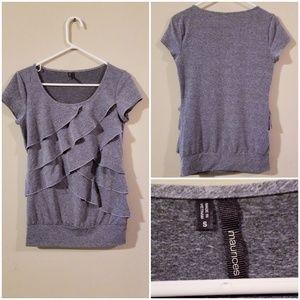 Super cute gray silky ruffled shirt